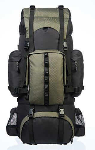 Amazonベーシック ハイキング バックパック インターナルフレーム レインフライ付属 65L グリーン