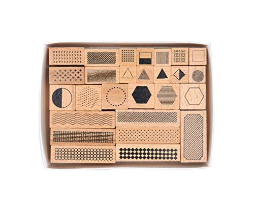 木製ゴム印セット ジオメトリ 形状 クリエイティブスタンプセット クラフトカード スクラップブッキング 手帳用 27個セットM-11