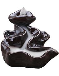 ハンドメイドIncense Tower Burner、Backflow Incense Holder – All Together Nowスタイル、理想的なヨガ部屋またはホーム飾り ブラウン 530054