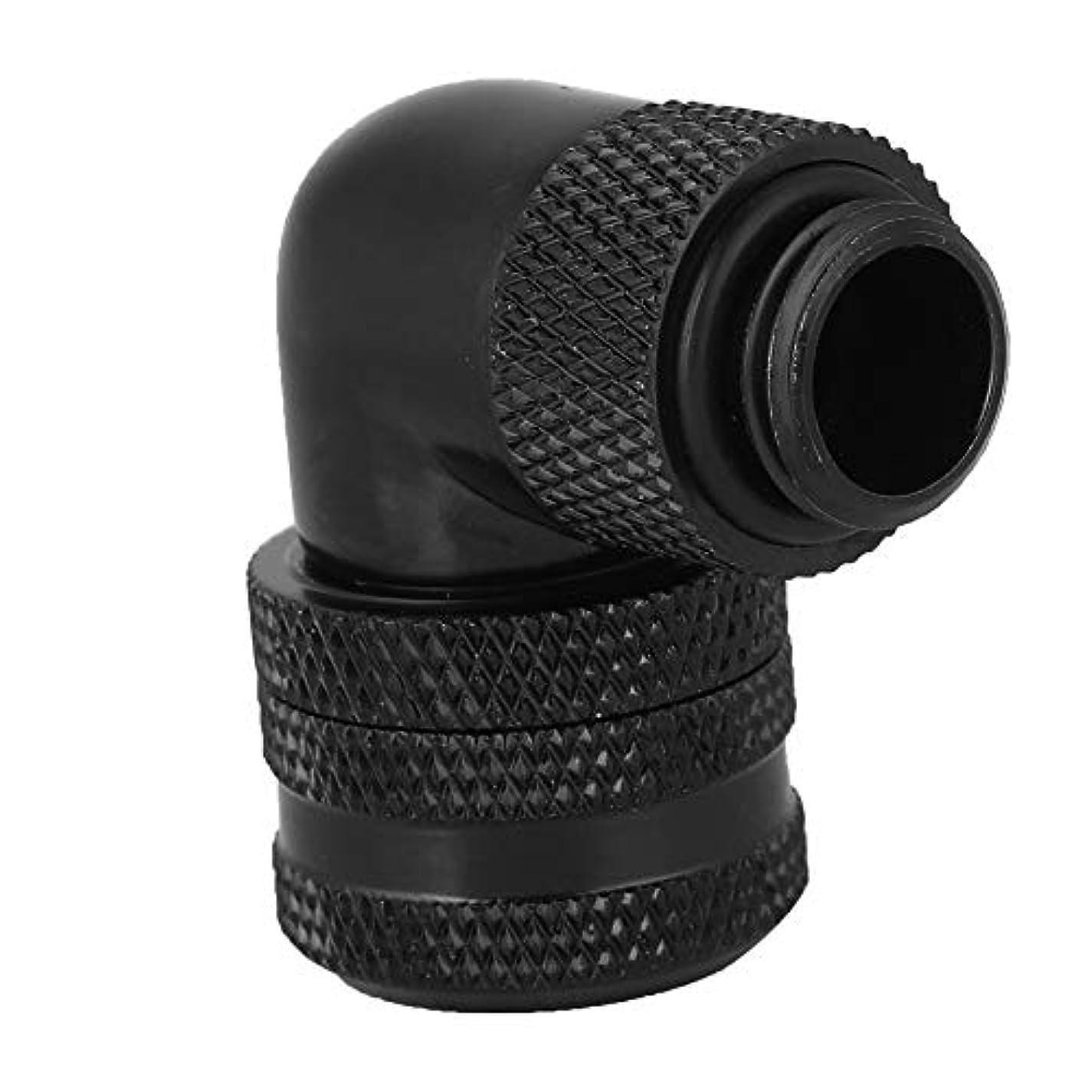人差し指作り上げるマラソンfosa銅ニッケルメッキ耐久性のあるG1 / 4 2 'スレッド高品質水冷フィッティング標準10x14 PETGアクリルハードチューブ用90°回転エルボコネクタ(ブラック)