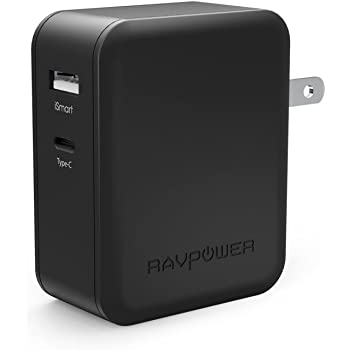 USB-C 充電器 RAVPower 36W 2ポート USB充電器 ( Power Delivery対応 急速充電 USB-C出力ポート ) MacBook 2015 / Nintendo Switch / Mi Notebook Air / HTC 10 / Nexus 5X 6P / iPhone / iPad など対応 (ブラック)