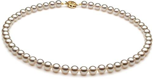 PearlsOnly–ホワイト6.5–7mm Japaneseアコヤ14Kイエローゴールド養殖真珠ネックレス ホワイト