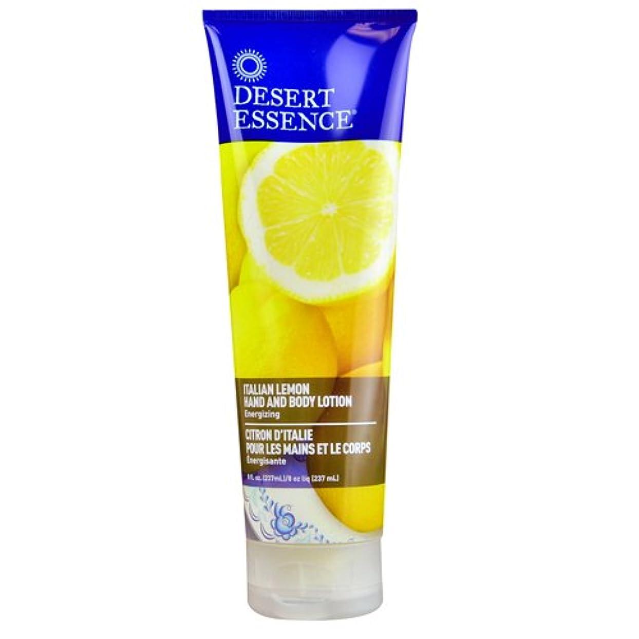 エレクトロニックカップル砂のDesert Essence, Hand and Body Lotion, Italian Lemon, 8 fl oz (237 ml)