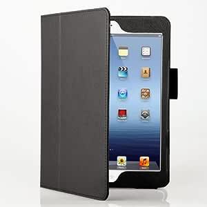 [Present-web] 高級感!! iPad mini 専用 スタンド機能付 レザーケース (全11色) 液晶保護フィルム付 ◇for the iPad mini 【iPad ミニ 新しいiPad】 (ブラック)