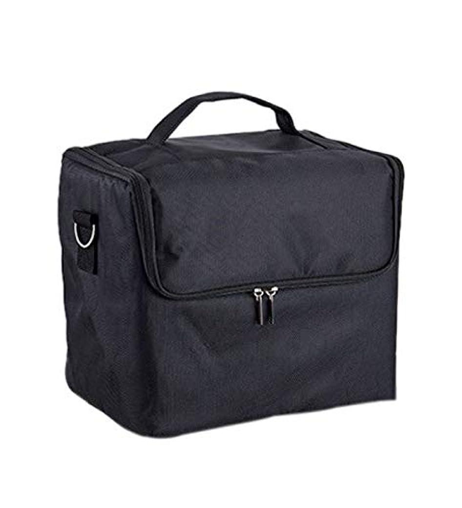 森林心理的に維持化粧箱、大容量多機能化粧品ケース、ポータブル旅行化粧品袋収納袋、美容化粧ネイルジュエリー収納箱 (Color : ブラック)