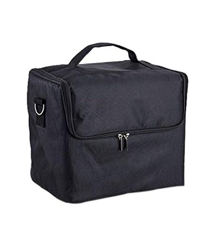 パーク豊富なエイズ化粧箱、大容量多機能化粧品ケース、ポータブル旅行化粧品袋収納袋、美容化粧ネイルジュエリー収納箱 (Color : ブラック)