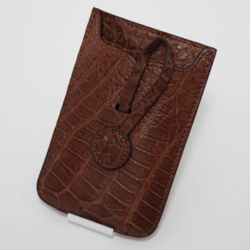 【各種スマホ対応 iPhone5sも】本クロコダイル皮革オリジナルスマートフォンケース (アーモンド)