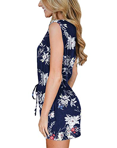 LEANI Women's Summer Sleeveless Button Striped Shorts Jumpsuit Tank Rompers with Pocket - Blue - Medium