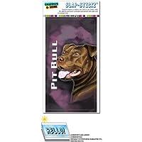 ピットブル - ピットブル - アメリカ人スタッフォードシャー・テリア犬ペット赤鼻ピンクバックグラウンド SLAP-STICKZ(TM)プレミアムステッカー