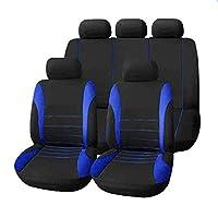 9個/セットカーシートカバー快適な防塵シートプロテクターパッドカバー車両用のユニバーサルフルシートカバー(ブルー)