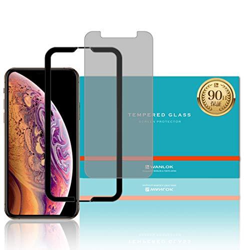 【iPhone XS 5.8インチ対応】日本メーカー プライバシーガラスフィルム ガイド枠付き 強化ガラス 硬度9H 全面保護 [指紋防止 スクラッチ防止 気泡ゼロ 防汚] 0.3mm 2.5D 日本板硝子社 液晶 保護フィルム 神器 アップル apple アイフォン 【WANLOK安心安全日本メーカー】 iPhoneXS Privacy