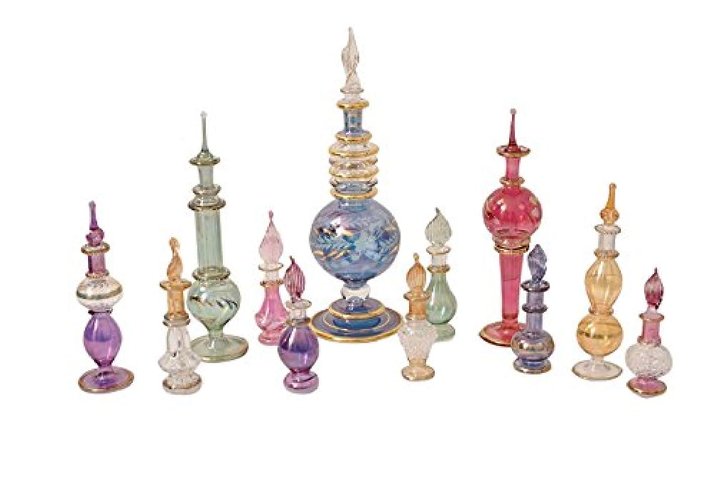 特派員自分を引き上げる代表するエジプト香水瓶12のセットをMixコレクション手吹き装飾Pyrexガラスバイアルズby CraftsOfEgypt