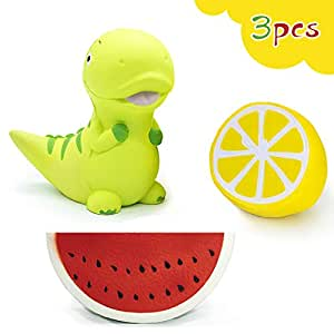 ジャンボスクイーズ 3個セット  恐竜・スイカ・レモン 香りつき ビッグスクイーズ  ぷにぷに 低反発おもちゃ カワイイソフトスクイシー キッズ おもちゃ ギフト おもちゃ 子供プレゼント
