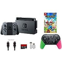 Nintendo Switch Bundle (7 items): 32GB Console Gray Joy-con Nintendo Switch Pro Controller Splatoon 2 Edition Game Disc Mario + Rabbids Kingdom Battle 128GB Micro SD Card Type C Cable [並行輸入品]