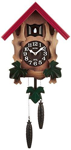 リズム時計 RHYTHM カッコー 掛け時計 カッコーメルビルR 本格的ふいご式 木 茶 (木地仕上) 4MJ775RH06
