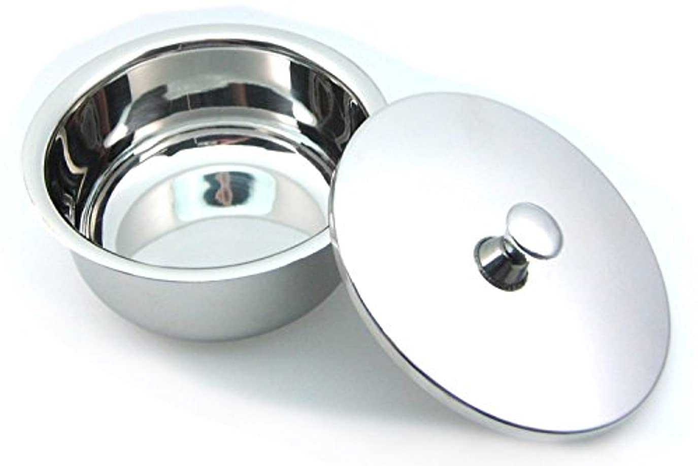 曲注入する星Golddachs shaving pot, stainless steel, chrome with lid 100mm