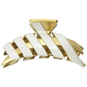 [キャラバン] Caravan ヘアアクセサリー エクストリーム ファッションデザイン ゴールド & ホワイト 大きいウイング型 バンスクリップ フランス製 4997