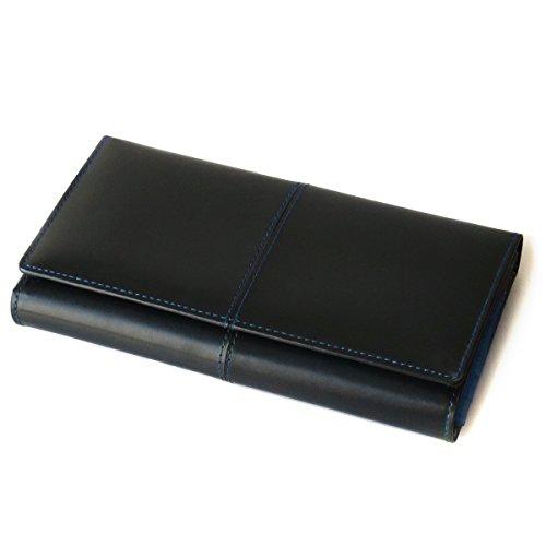 [ディアブロ] DIABLO 大容量29ポケット 馬革×牛革 三つ折長財布 【KA-917】(ブルー)