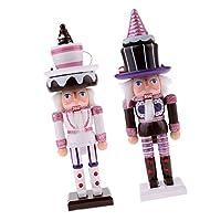 Baoblaze ウッド製 25cm ケーキ ナッツクラッカー おもちゃ 置物飾り 2個入り