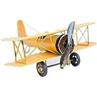 URAQT 復古飛行機 モデル ドイツ 双翼飛行機 レトロ飛行機 モデル 飛行機模型 装飾 飾り 置物 インテリア おもちゃ 雑貨 復古  お洒落(イエロー)