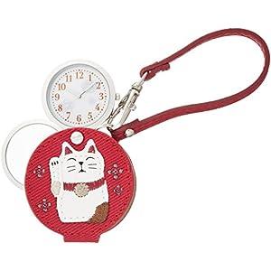 [フィールドワーク]Fieldwork 懐中時計 まねきねこ ルーペ 付き レッド LW047-2 懐中時計