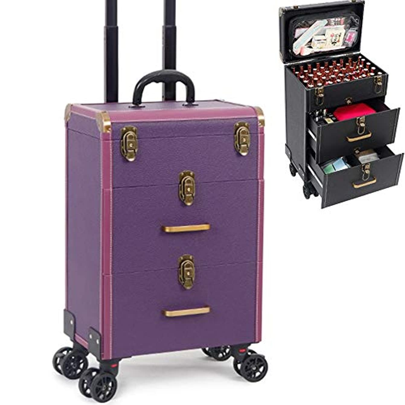 ブルトランスペアレント到着するローリング化粧品オーガナイザー、トロリー化粧品ボックス、トロリー化粧品収納、美容化粧台ケース、ロック可能なキー付き、スライド式引き出しPurple A