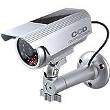 防犯カメラや防犯プレートと併用で効果UP ダミーカメラ 暗視型ソーラーバッテリー付 (OS-174) シルバー 赤色LEDが常時点滅 赤外線 防雨タイプ
