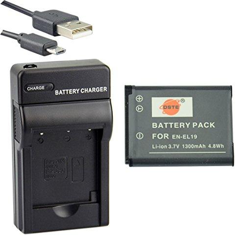 DSTE® アクセサリーキット Nikon EN-EL19 互換 カメラ バッテリー 1個+USB充電器キット対応機種 Coolpix A100 S3100 S3200 S3400 S3500 S4300 S4400 S5200 S6500 S6600