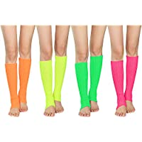 Zando Women's Knit Leg Warmers Adult Junior 80s Fashion Long Socks for Party Sports 4 Pack a One Size