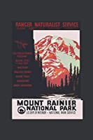 Notebook: Mount Rainier National Park Vintage Camping Journal & Doodle Diary; 120 White Paper Numbered Plain Pages for Writing and Drawing - 6x9 in.