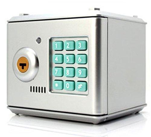 LeeTiful 設定 暗証番号硬貨 紙幣コインきくばり多機能便利会社経理家宝物収納ダイヤル ロック 式 金庫 貯金箱鍵 付きテンキー 式パスワード (シルバー) LEE-232