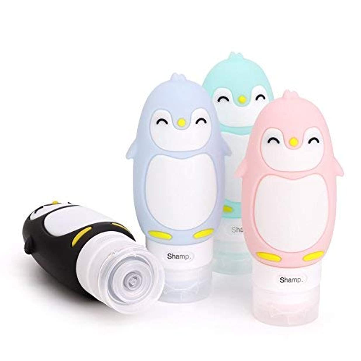 抑止する無視道Kinbo 4パックポータブルトラベルボトルリーク防止、3ozリフィル可能なソフトシリコンスキージリキッドトイレタリーコンテナ、シャンプーローションソープ化粧品