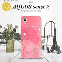 SH-04L SHV43 AQUOS sense2 スマホケース カバー バタフライ・蝶(A) ピンク ピンク 【対応機種:AQUOS sense2 SH-04L SHV43】【アルファベット [H]】