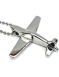 AMDXDジュエリーステンレス鋼メンズペンダントネックレスヴィンテージスタイルシルバーAir Plane Cut 4.54.8 CM