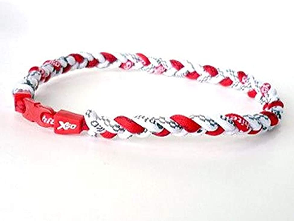 宣伝賛辞公ファイテン(Phiten) RAKUWAネックX50 三つ編み (赤×白×白) 仕上がり約50㎝
