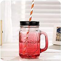 ガラス 飲み 投手, クリエイティブ マグカップ コーヒー ガラス ハンドル付き わら 飲む メガネ 水の 飲料 カクテル 5 種セット-A 490ml(17.2 oz)