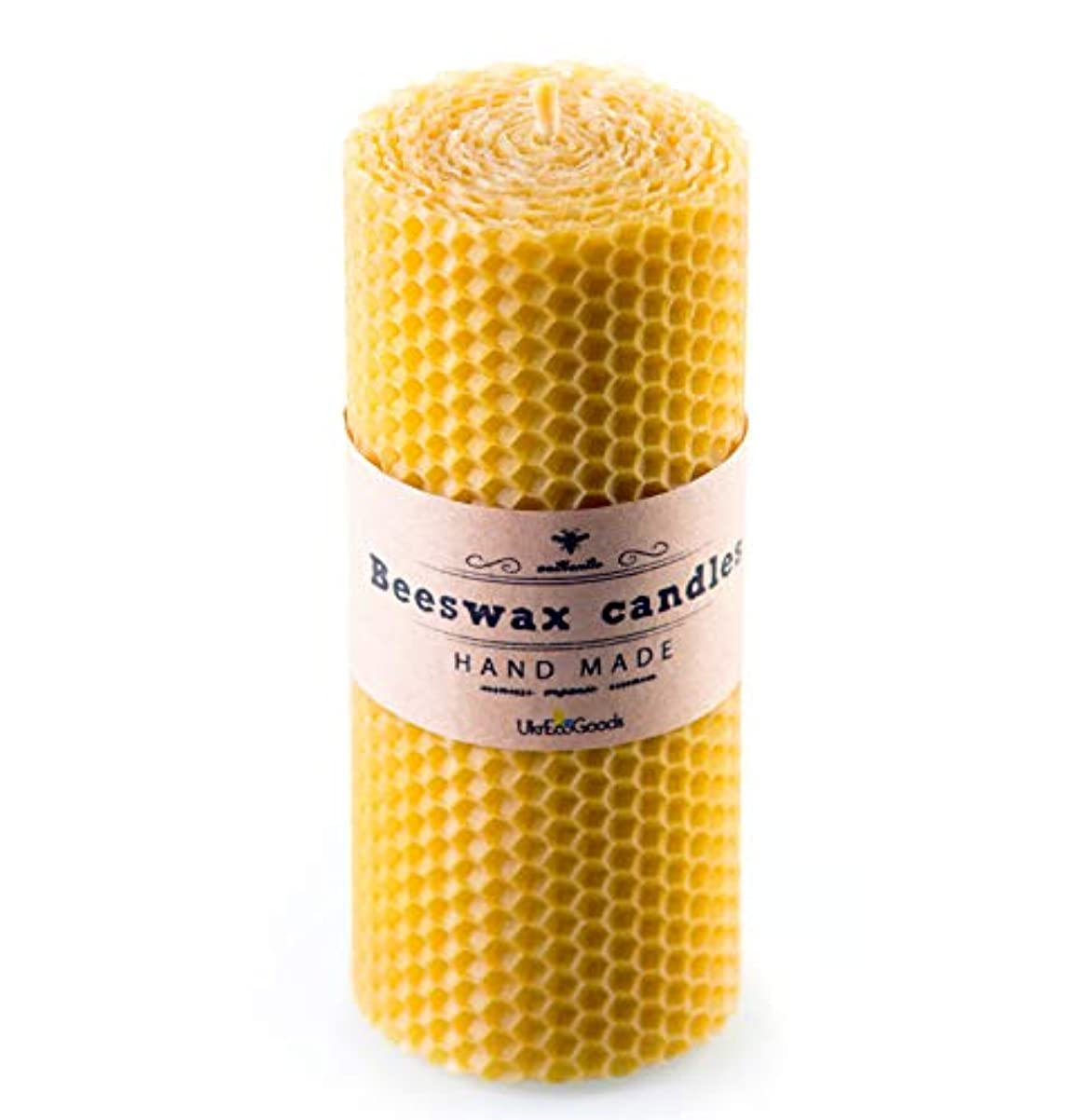 立場お手伝いさん読むUkrEcoGoods Beeswax Candle, 15cm Hand Rolled Pillar candle with pure natural wax scent.