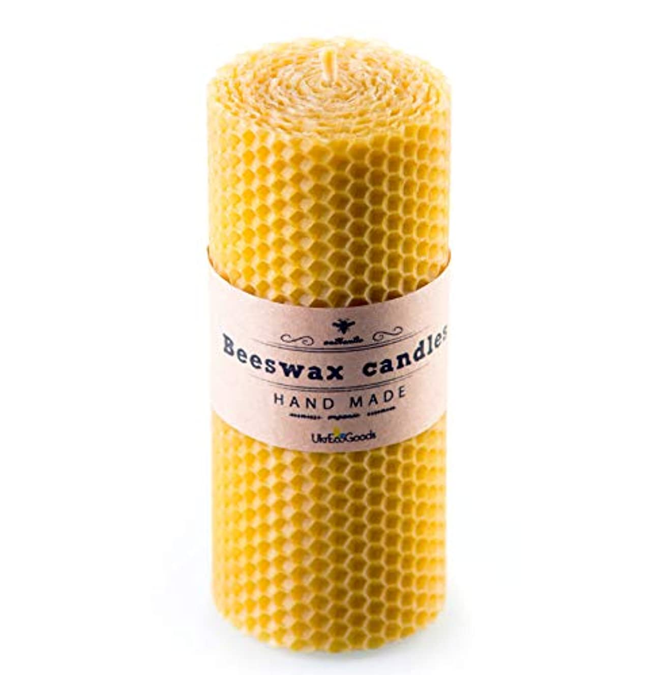 UkrEcoGoods Beeswax Candle, 15cm Hand Rolled Pillar candle with pure natural wax scent.