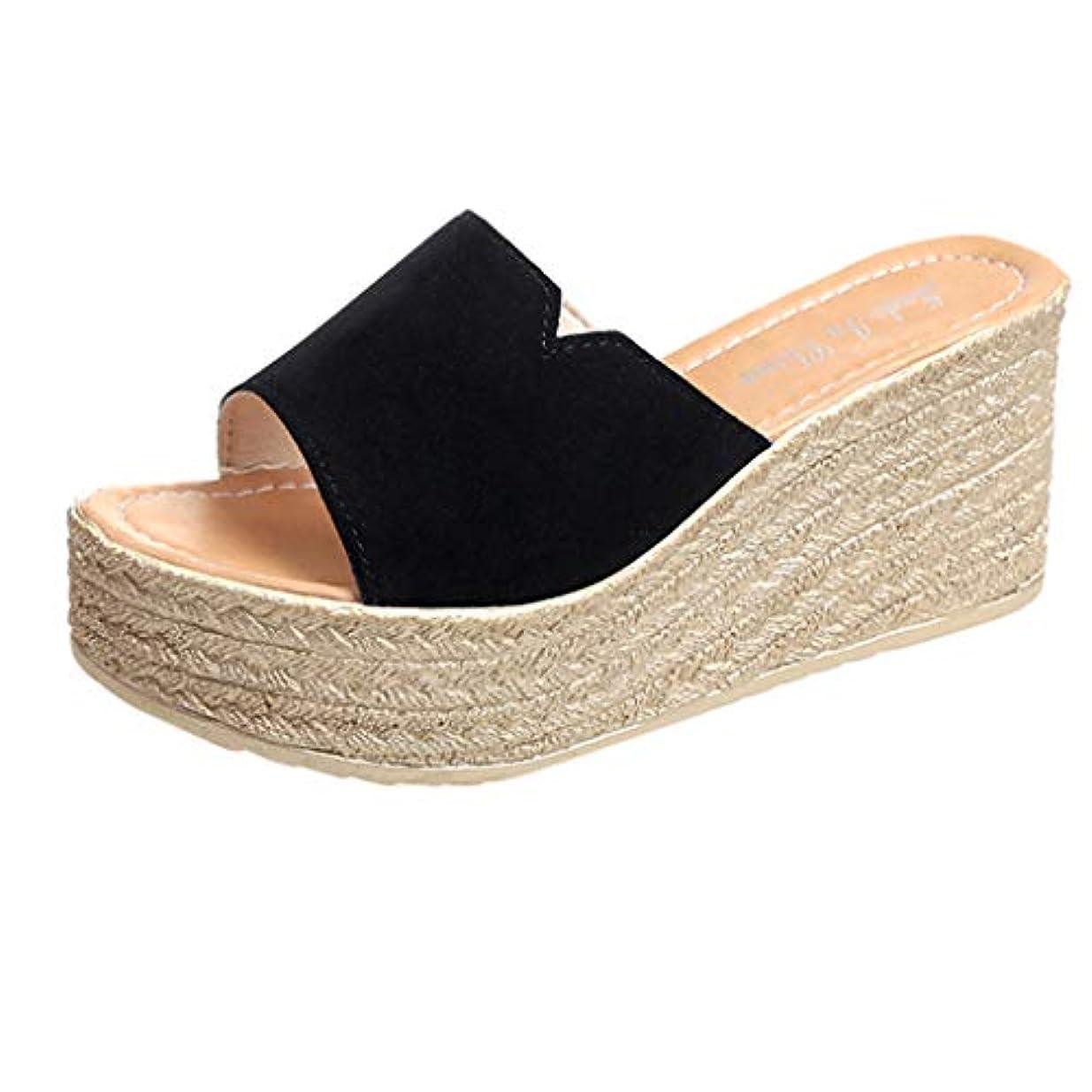 出血端ほこりっぽいウェッジソール ミュール Foreted ビーチサンダル 履き心地 厚底靴 日常着用 オープントゥ 下履き スリッパ 痛くない 夏 海