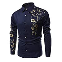 AngelSpace Men Plus-size Long-Sleeve Bronzing Floral Printed Button Down T-Shirt AS1 2XL