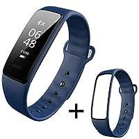 インテリジェントスポーツブレスレット心拍数血圧計ステップ睡眠監視防水男性と女性の多機能歩数計ウォッチ心拍数血圧監視電話SMSスマートリマインダー (Color : Blue+blue strap)