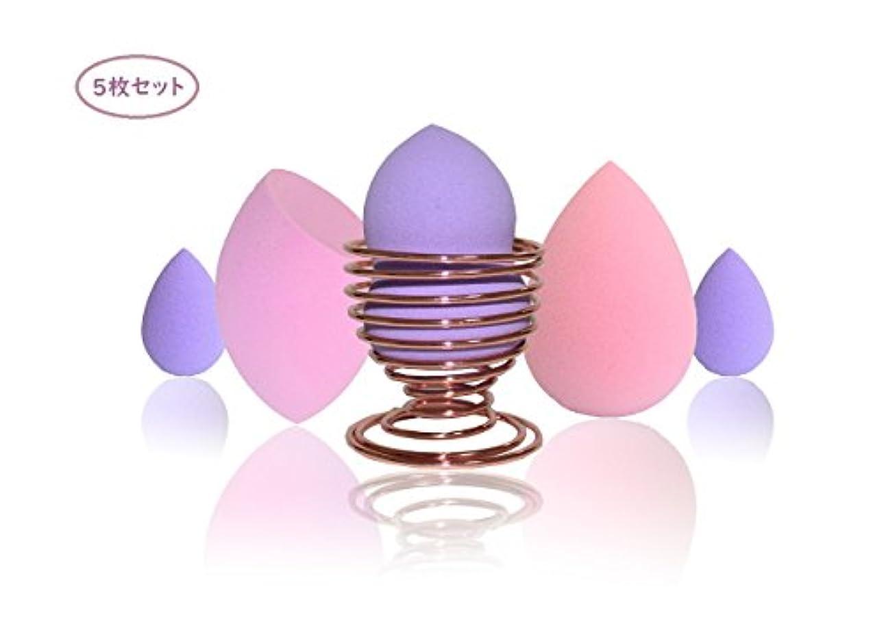 Solar Jo Auge 化粧スポンジ パフ 乾湿兼用 涙型 水滴形 スポンジ ファンデーション 化粧 美容ツール (AUGE&スタンド セット、5枚セット)