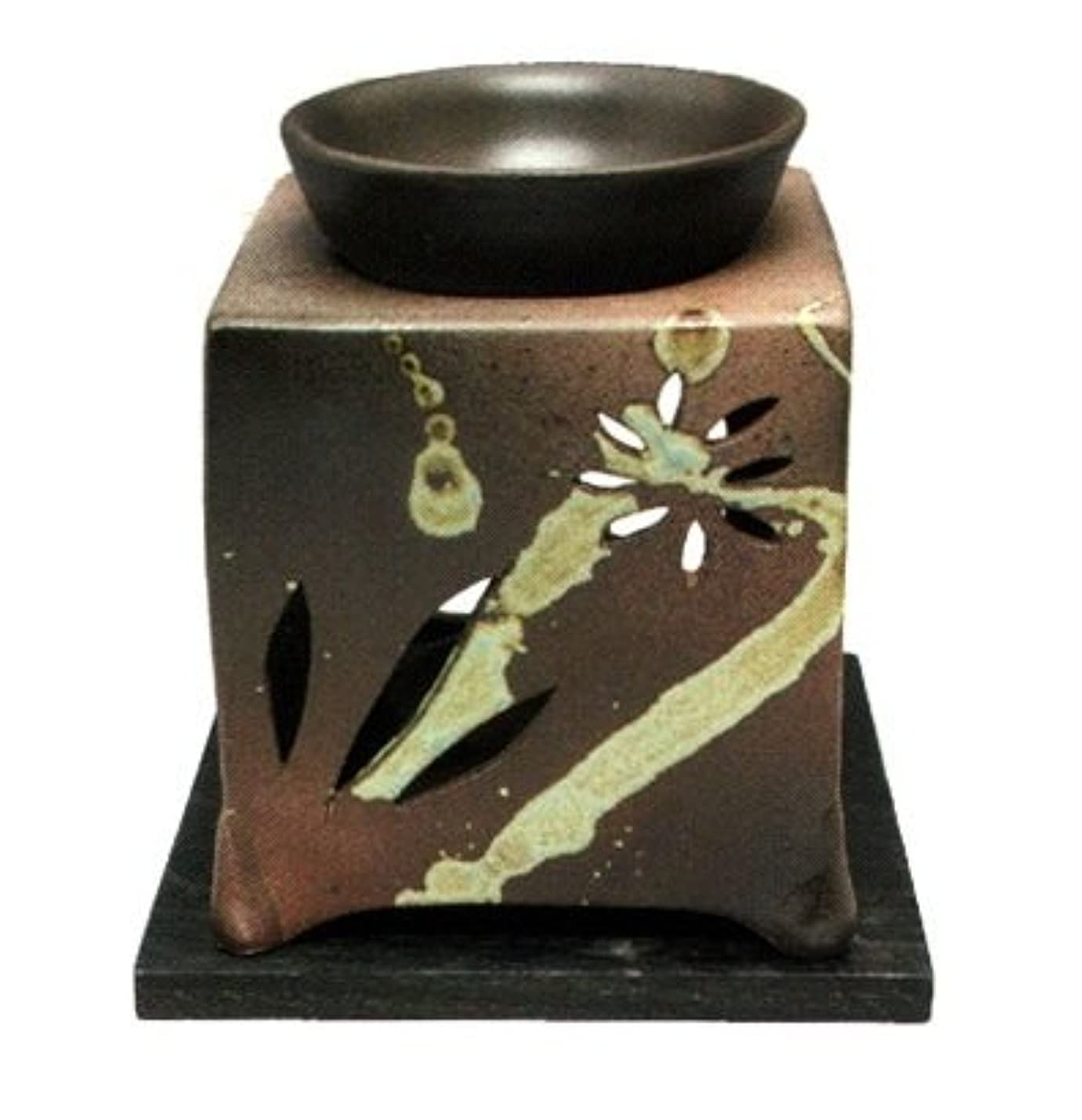 瞑想スリット迅速常滑焼?山房窯 カ40-08 茶香炉 杉板付 約10×10×12cm
