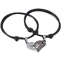 Fascigirl 1 PAIR Couple Bracelet Wrap Bracelet Fashionable Heart Pendant His And Hers Bracelet