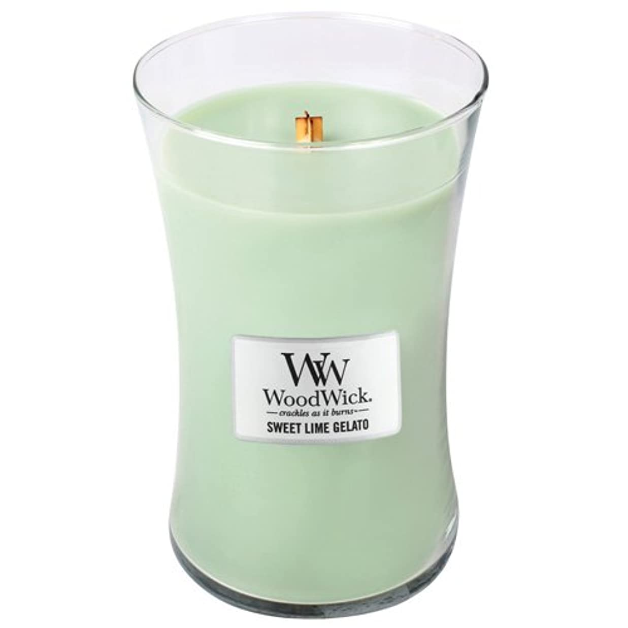 手入れ水分永久WoodWick Sweet Lime Gelato Large Jar Scented Candle