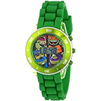 Ninja Turtles Kids' Digital Watch with Matallic Green Bezel, Flashing LED Lights, Green Strap - Kids Digital Watch with Teenage Mutant Ninja Turtles on the Dial, Safe for Children - Model: TMN4008