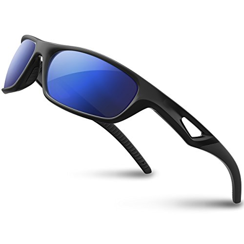 RIVBOS(リバッズ)RB831 偏光 スポーツサングラス サイクリング ランニング メガネ メンズ レディース スポーツ サングラス サイクリング アイウェア (ブラック&ブラック ミラー レンズ)