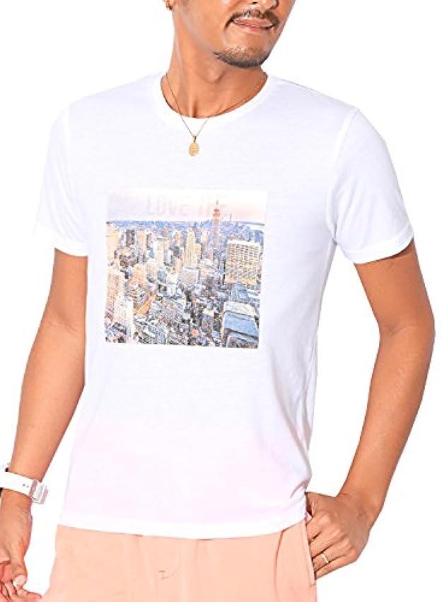 前者自然引退するLUX STYLE(ラグスタイル) Tシャツ メンズ 半袖 クルーネック プリント トップス 細身