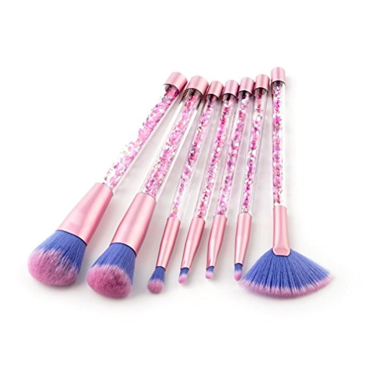 基準フロンティアチョコレートDilla Beauty 7本セットクイックとユニコーンシリーズシャイニークリスタルリキッドプラスチックハンドルメイクブラシセットコンシーラーブラシ美容メイクアップ化粧ツールキット (ブルーピンク)