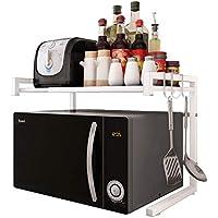 JOOCII レンジ台 幅伸縮式(幅40-60) 電子レンジ上ラック 2段式 キッチン 収納 棚 トースター ラック
